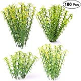 Ymeibe 100pcs Model Miniature Bamboo Trees Landscape Green Plastic Bamboo Trees 3.2-5.9 inch 4 Scale 1:75