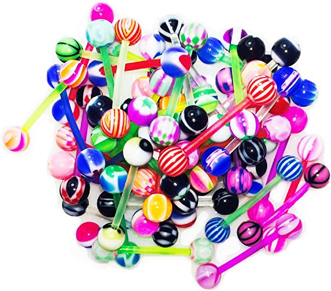 10X Mixed Steel Ball Tongue Nipple Bar  Ring Barbell Body Piercing Jewelry OuRTU