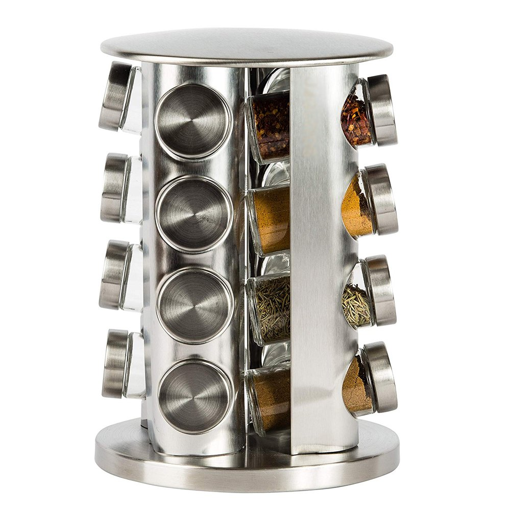 Double2C Revolving Countertop Spice Rack Stainless Steel Seasoning Storage Organization,Spice Carousel Tower for Kitchen Set of 16 Jars by Doube2C