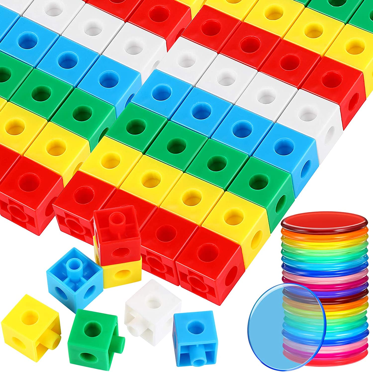 150 Pieces Counting Chips Plastic Learning Chips Big Size Square Centimeter Cubes Solid Colorful Educational Counting Toys Math Teach Accessories for Boys, Girls, Students and Teachers
