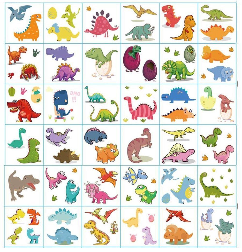 Tatuaggi temporanei per la festa di compleanno per bambini, Bomboniere per feste per feste di dinosauro, Adesivi rimovibili per tatuaggi per ragazze (Tatuaggi al dinosauro, 36 fogli) Dream Loom