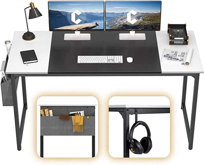 """Cubiker Computer Home Office Desk 55"""" Study Writing Table for Home Office, Modern Simple Style PC Desk with Splice Board, Black Metal Frame, Black and White"""