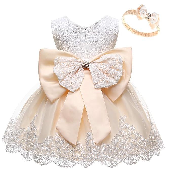 Amazon.com: MYRISAM - Vestido de encaje con lazo, diseño de ...