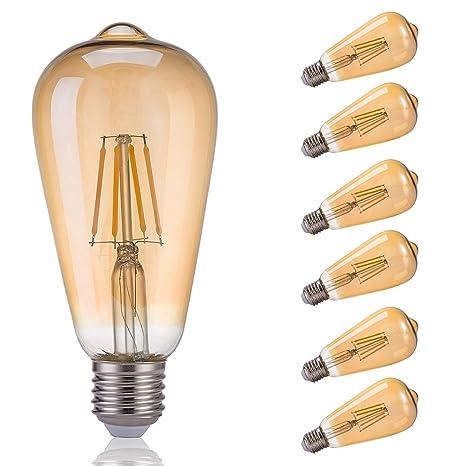 Bombilla LED E27 Edison Vintage Bombilla de Filamento LED Cálido 4W ST64 2200K Retro Decorativa Ambar