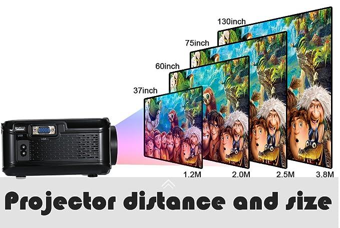 UKSoku U90 Mini Proyector Portátil Home Theater 1080P 3000 Lúmenes LED HD Video Proyector Soporte Películas Juegos iPhone Android Smartphone PC Laptop TV ...