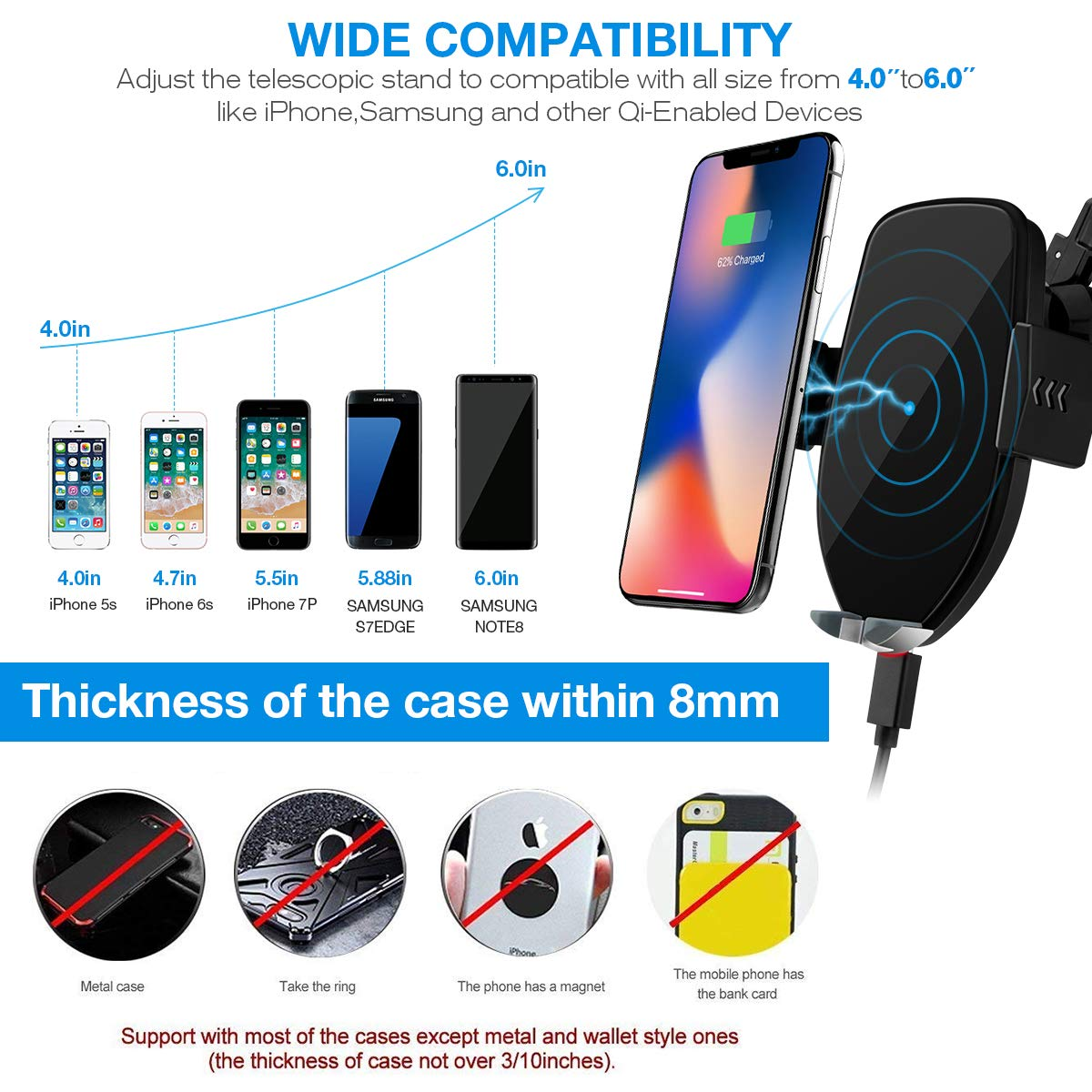 Automatic Sensor Wireless Charger Car Mount Smart Touch Qi Fast Wireless Charging Air Vent Car Phone Holder for i Phone XS MAX//XR//XS//X//8//8 Plus Samsung Galaxy S9//8//7//Note 8 All Qi-Enabled Phones