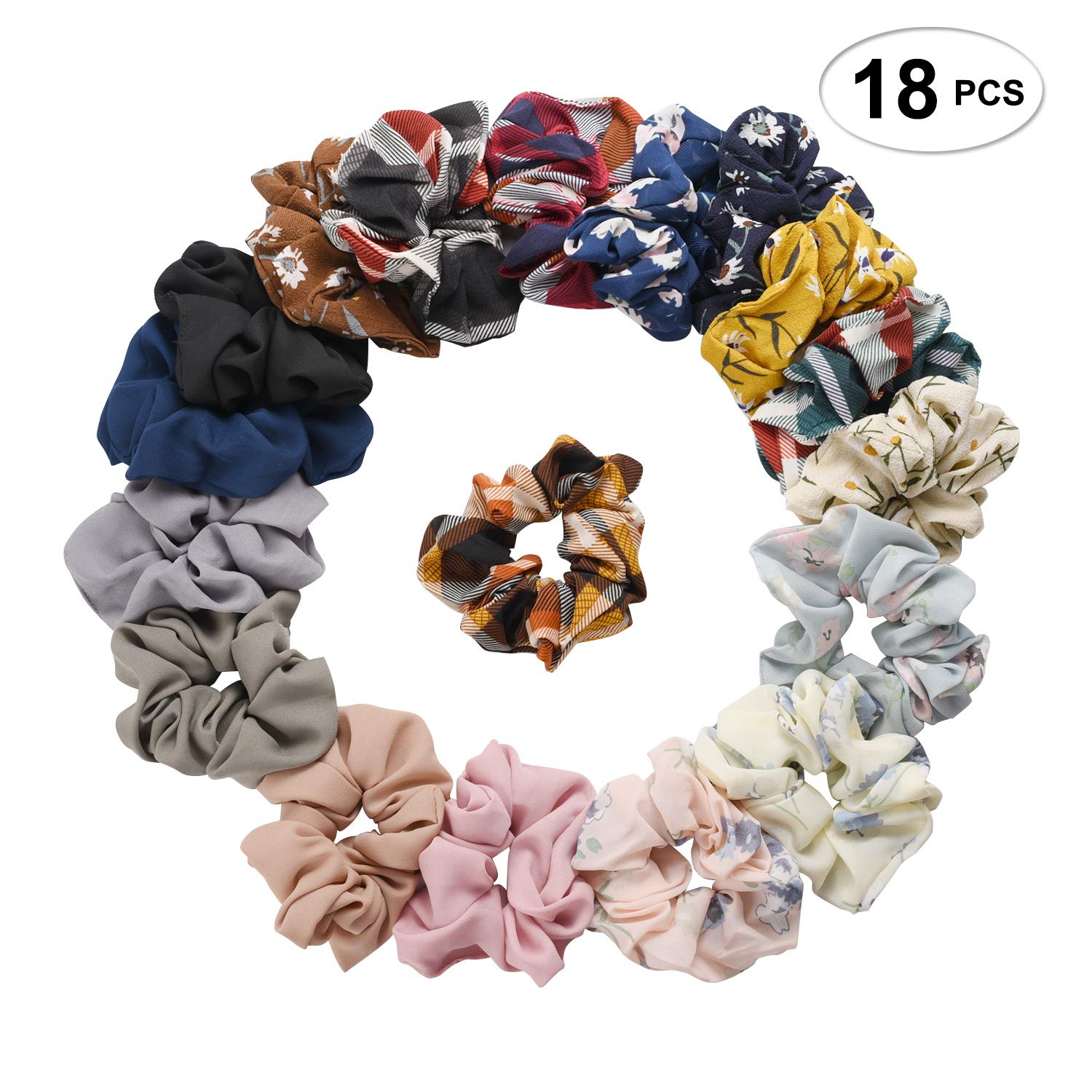 SEVEN STYLE 18 Pcs Colors Women's Chiffon Flower Hair Scrunchies Hair Bow Chiffon Ponytail Holder,Including 12 Colors Chiffon Flower Hair Scrunchies and 6 Solid Colors Chiffon Hair Ties