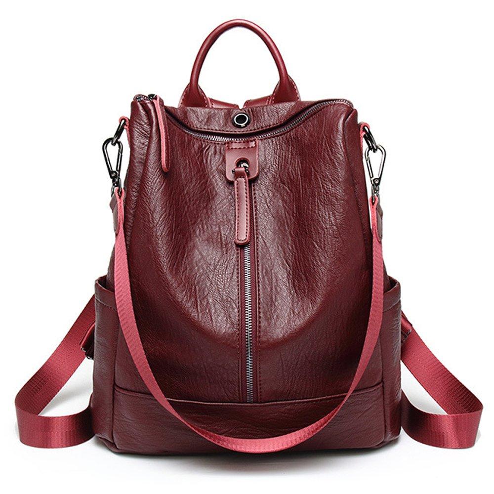 ZUNIYAMAMA Casual Purse Fashion School Leather Backpack Crossbady Shoulder Bag Mini Backpack for Women & Teenage Girls red waterproof