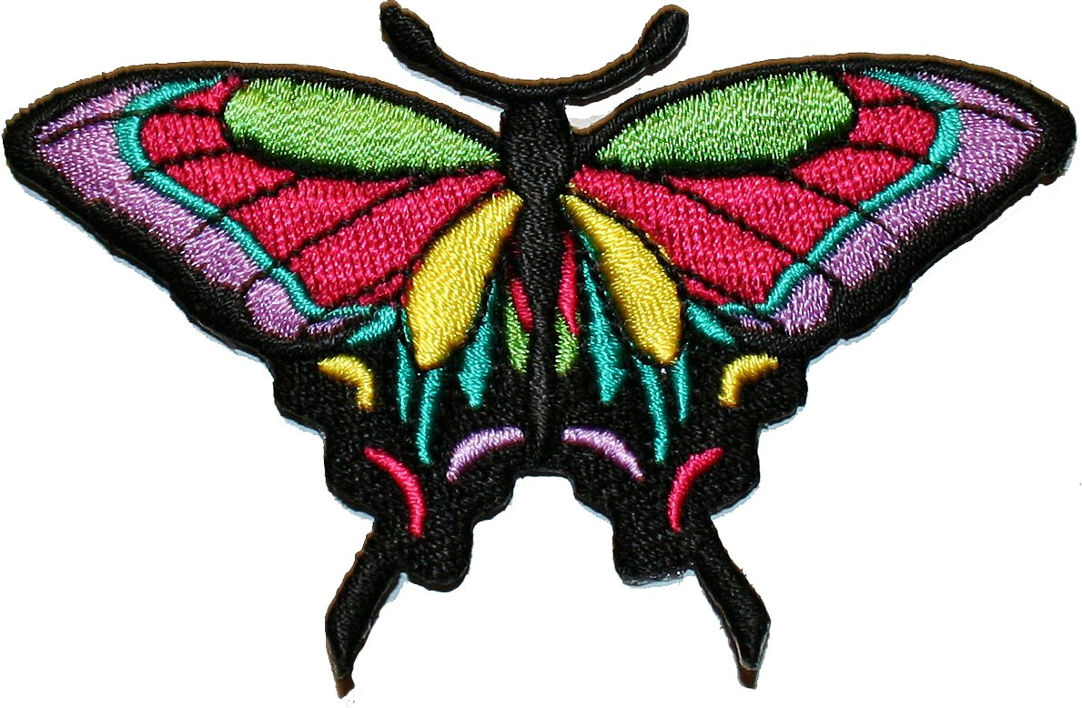 Butterfly Motif multicoloured embroidery Sew On patches children dress trimmings