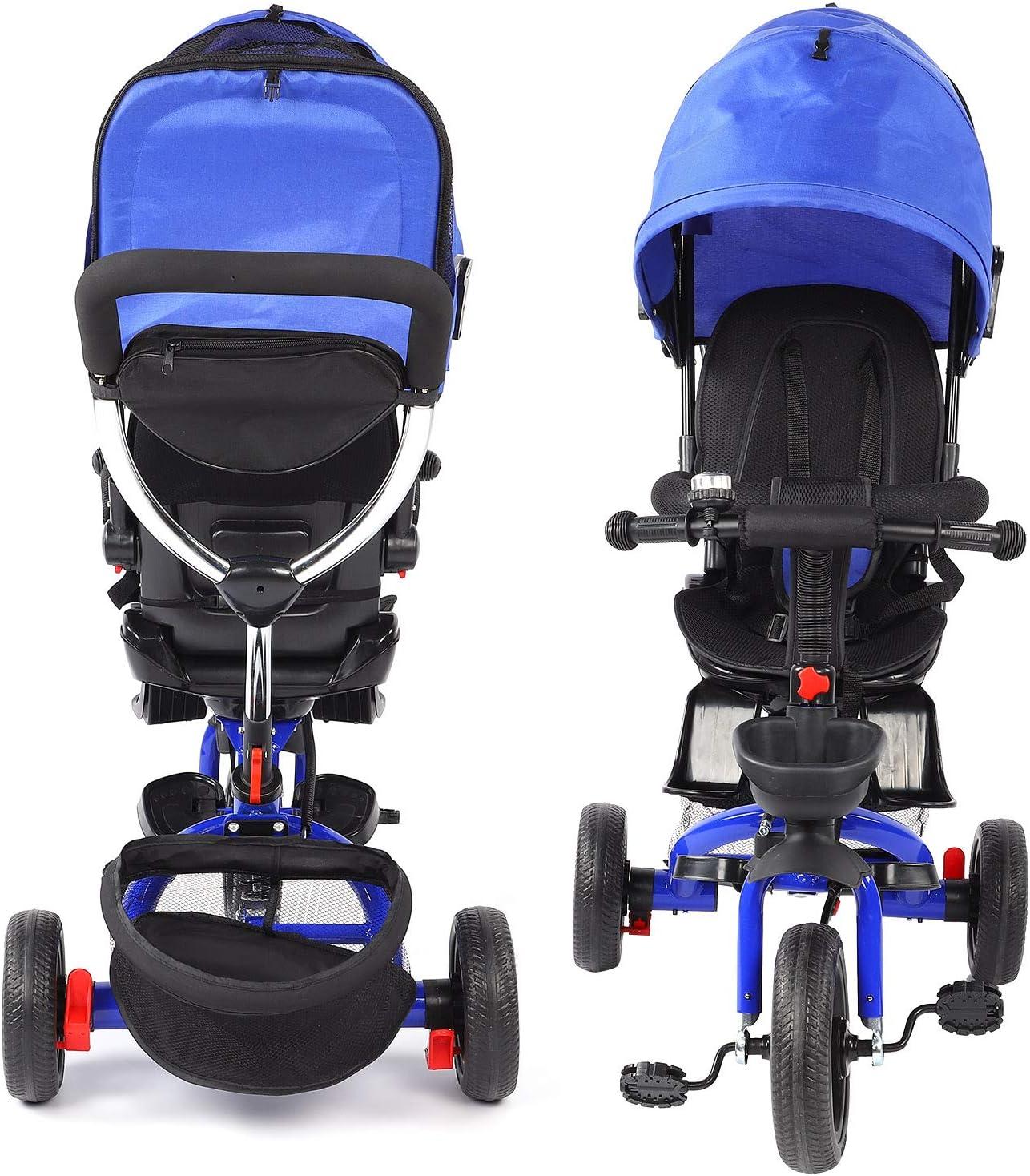 Ejoyous Triciclo Infantil, Triciclo Jogger portátil Plegable con Varilla de Empuje y 2 Frenos, Asiento con cinturón de Seguridad y cesto portaobjetos Apto para niños de 1 a 5 años