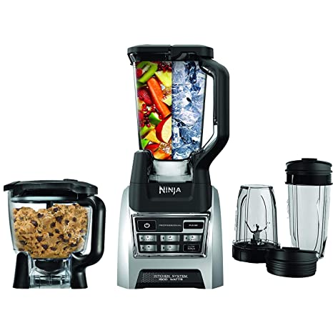 Nutri Ninja Blender Kitchen System, Auto-iQ 1200 Watt 72oz Total Crushing Pitcher and 8-Cup Processor Bowl BL685 (Renewed)