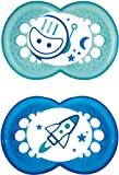 MAM Night Glow in The Dark Soothers Suitable for Travel Case 12 Months + (Blue/Green designs may vary)