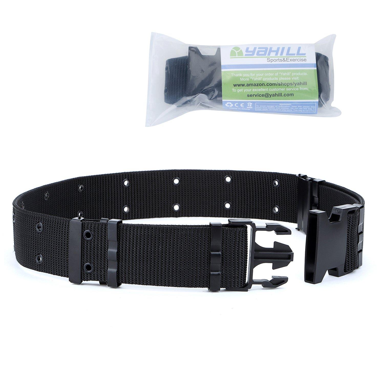 YAHILL® Cinturón Táctico Ajustable de Seguridad Cinturón Pesado de Rescate por Deporte & Caza al Aire Libre (Negro)