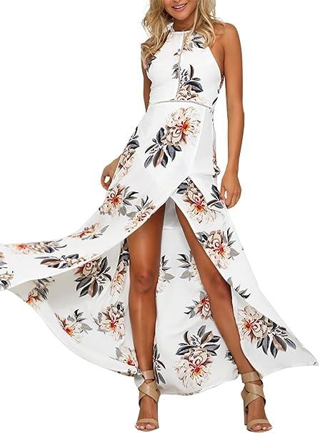 Simplee Apparel Las mujeres abrigo de cuello halter Backless floral print maxi vestido de fiesta blanco: Amazon.es: Ropa y accesorios