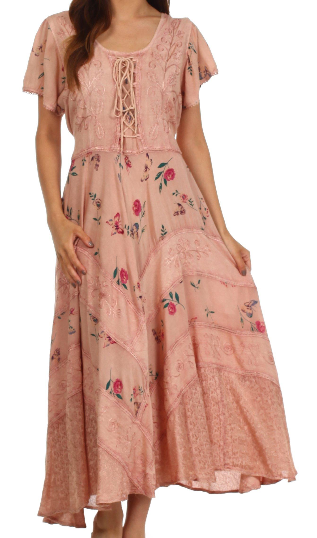 Sakkas 32311 Calliope Corset Style Dress - Rose - 1X/2X by Sakkas