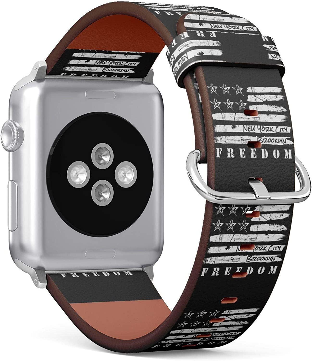 (Stylized American Flag Theme in New York City, Brooklyn and Freedom.) Patterned Leather Wristband Strap for Apple Watch Series 4/3/2/1 gen,Replacement for iWatch 38mm / 40mm Bands