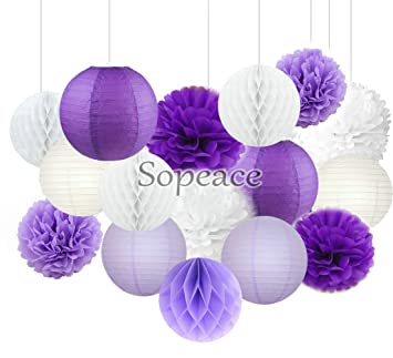 df294517fa6 Sopeace 16 pcs White Lavender Dark Purple 10inch 8inch Tissue Paper Pom Pom  Paper Lanterns Mixed