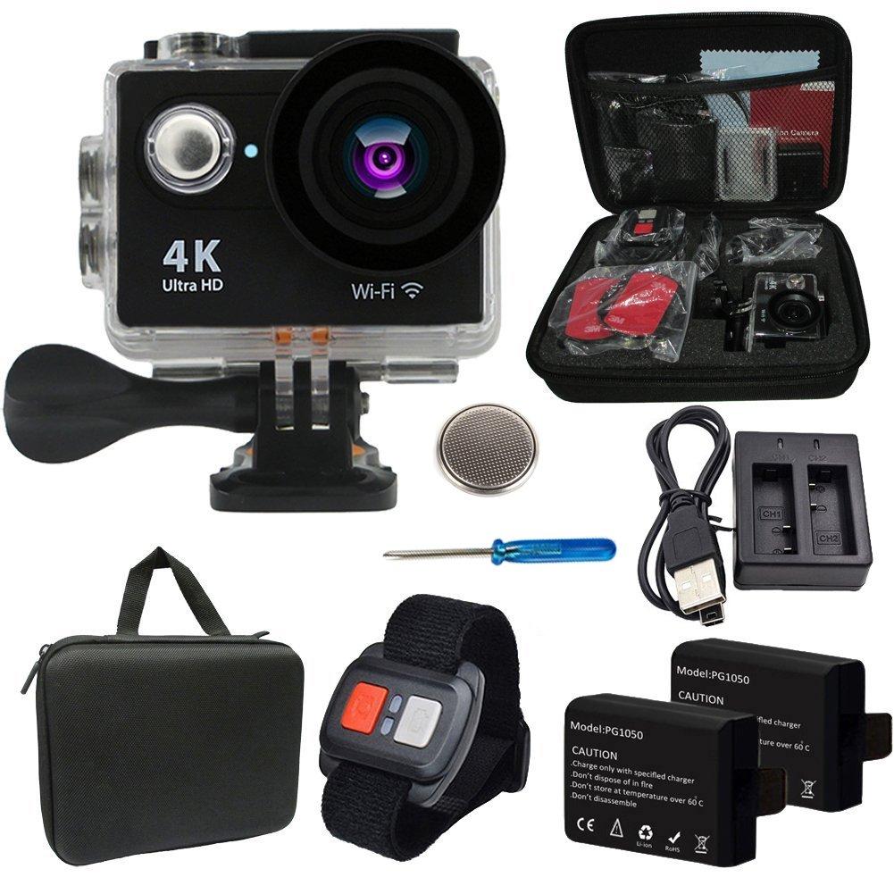Besty Original 4K WiFi Wasserdichte Actioncam mit Doppelladegerät Action Kamera 12MP 2 Zoll Full HD 1080P 170 °Weitwinkel-Objektiv Waterproof Sportkamera Mini DV Sports Camera Camcorder mit Fernbedienung und 2 Stück Akkus Schwarz YDXJ-012-DE