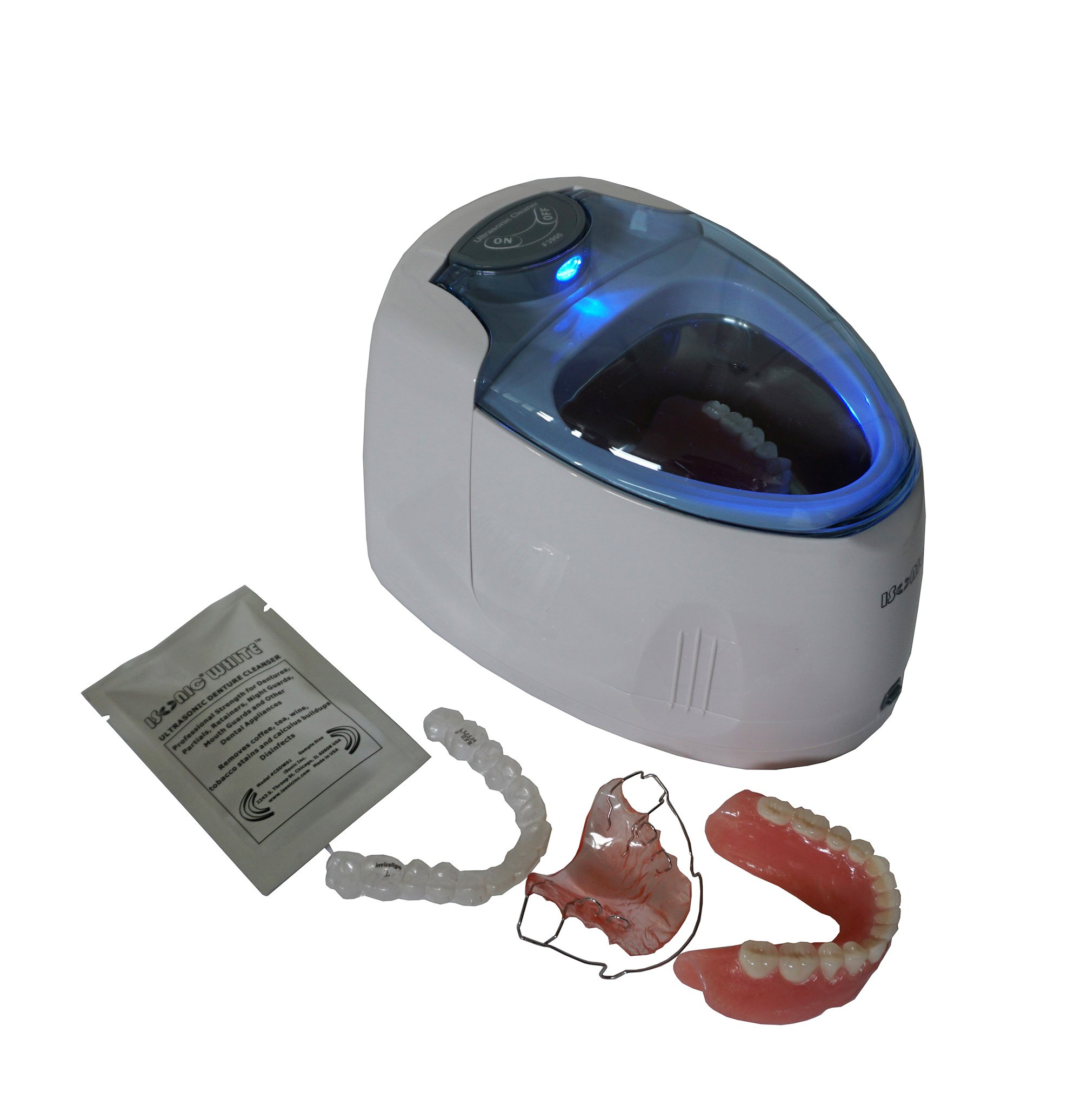 iSonic F3900 Ultrasonic Cleaner for Dentures, Aligners/Retainers, Dental and Dleep Apnea Appliances, and Mouth Guards, 110V (tank no longer removable) by iSonic (Image #2)