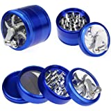 "Plixio 4 Piece 2"" Spice Herb Tobacco Grinder with Handle -Aluminum Alloy (Blue)"