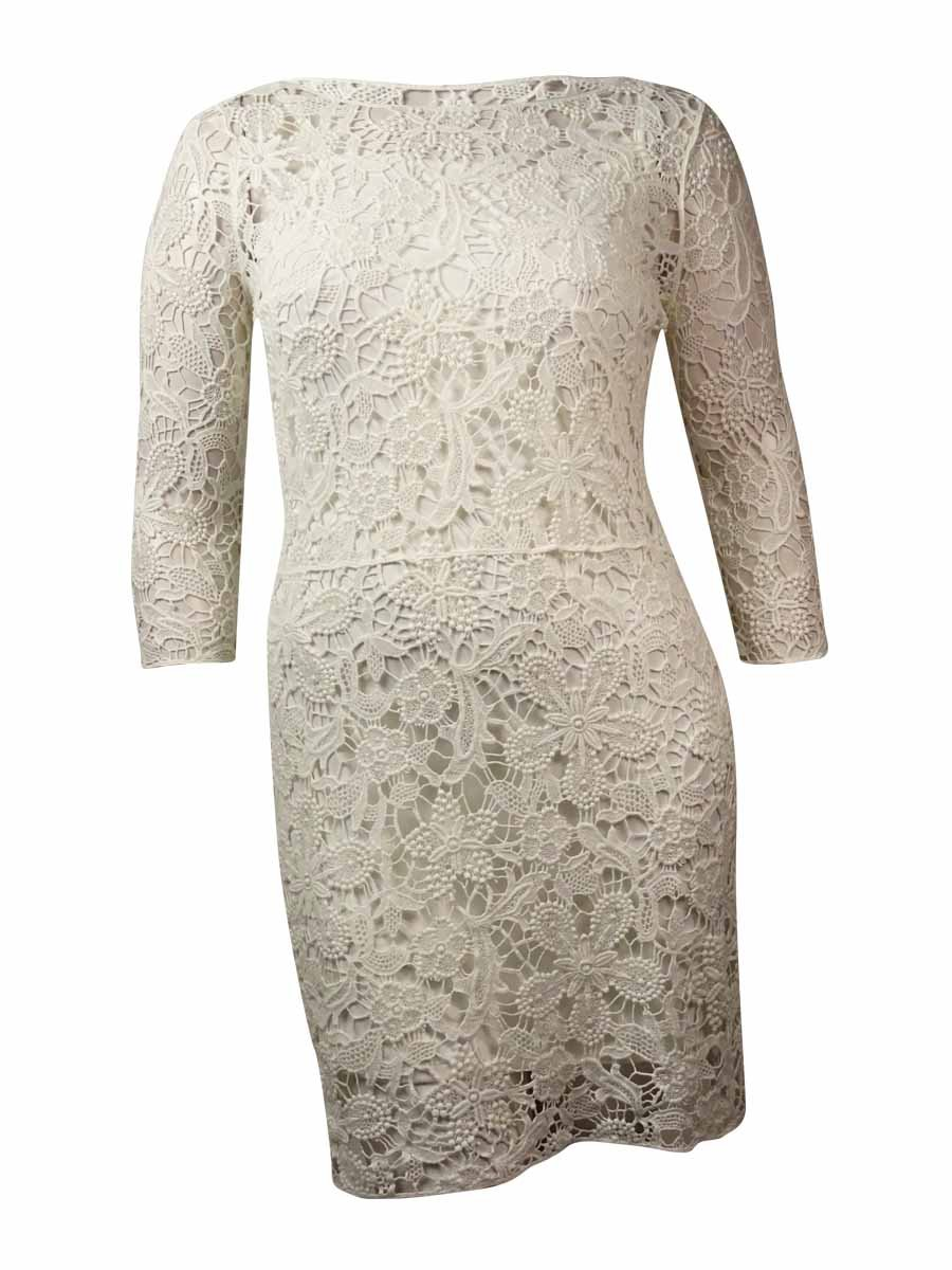 Lauren Ralph Lauren White Sleeveless Crochet-Lace Dress M