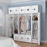 KOUSI Portable Clothes Closet Wardrobe Bedroom Armoire Dresser Cube Storage Organizer, Capacious & Customizable, White, 10 cubes&5 Hanging Sections