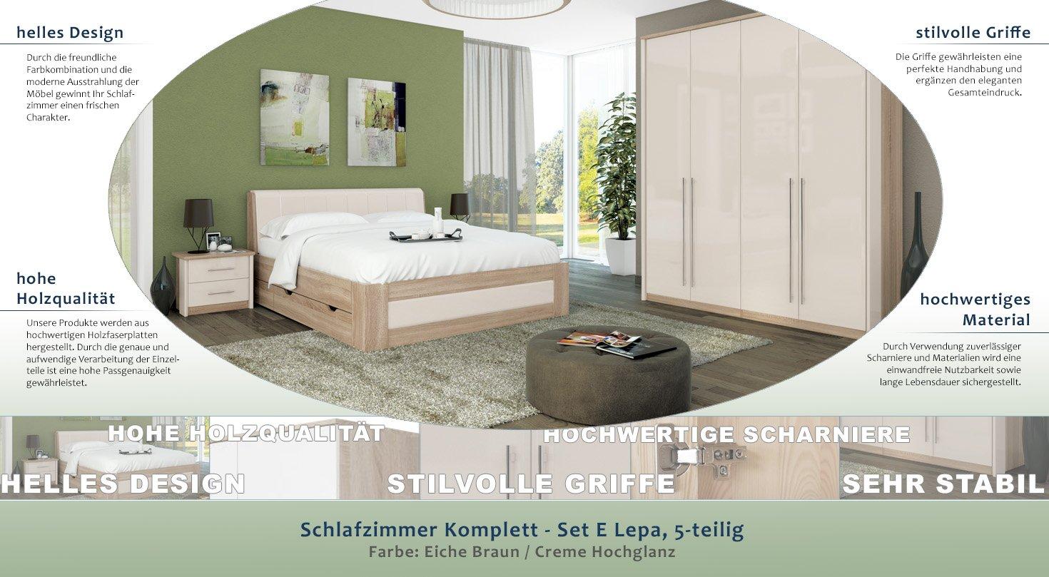 Schlafzimmer Komplett   Set E Lepa, 5 Teilig, Farbe: Eiche Braun / Creme  Hochglanz: Amazon.de: Baumarkt