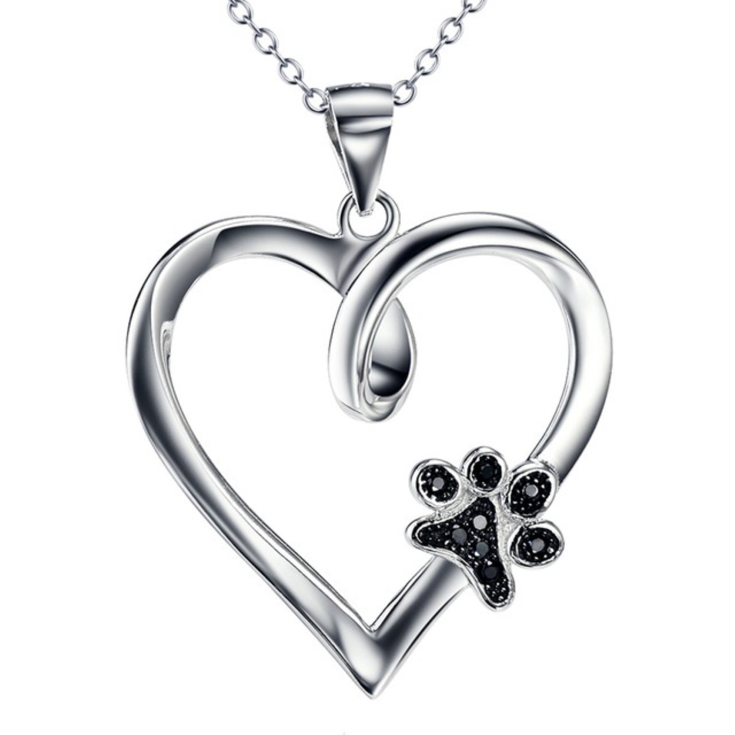 CS-DB Pendants Necklaces Silver Heart Jewelry Girls with Black Cubic Zirconia Dog Paw