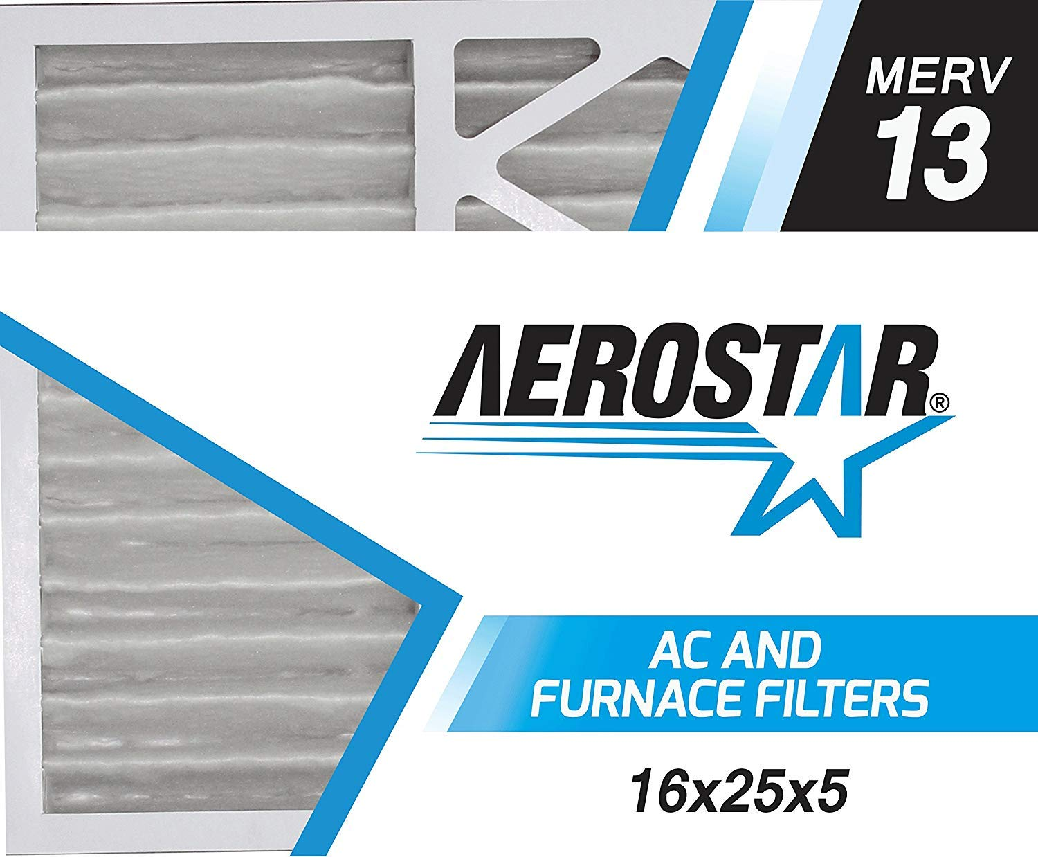 """Aerostar 16x25x5 MERV 13 Honeywell Replacement Pleated Air Filter, Made in the USA 15 7/8"""" x 24 3/4"""" x 4 3/8"""", 2-Pack"""