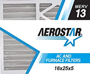 "Aerostar 16x25x5 MERV 13 Honeywell Replacement Pleated Air Filter, Made in the USA 15 7/8"" x 24 3/4"" x 4 3/8"", 2-Pack"