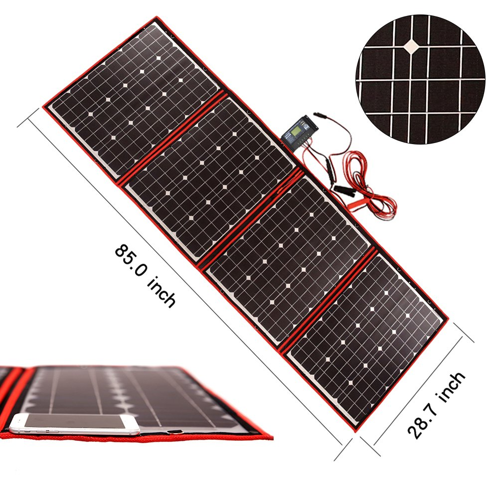 Dokio 200 Watts 12 Volts Monocrystalline foldable Solar Panel with Charge Controller