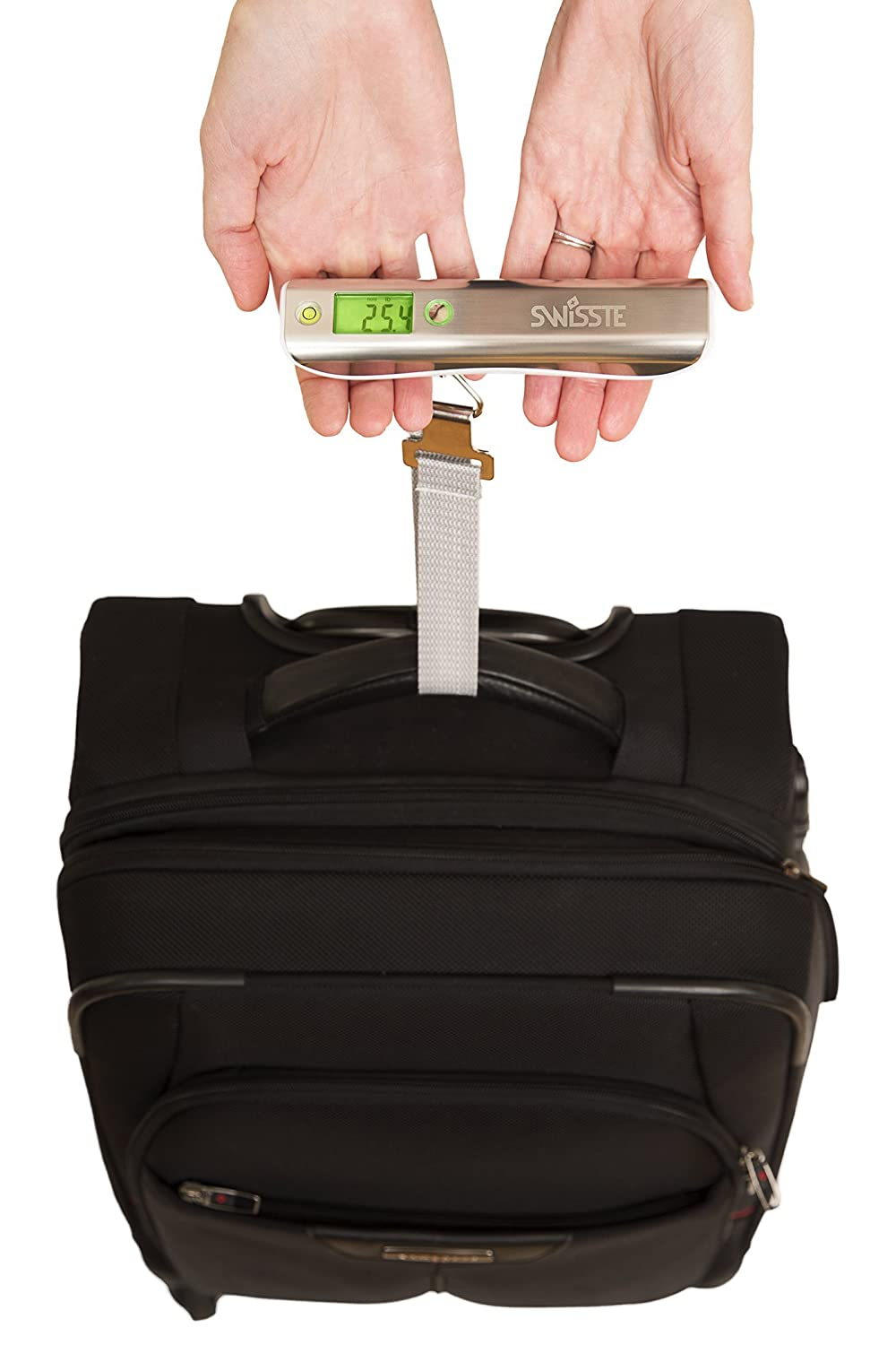 #1 Luggage Scale w/Tape Measure, 110 lbs w/FREE AAA batteries, Best For Travel Swisste