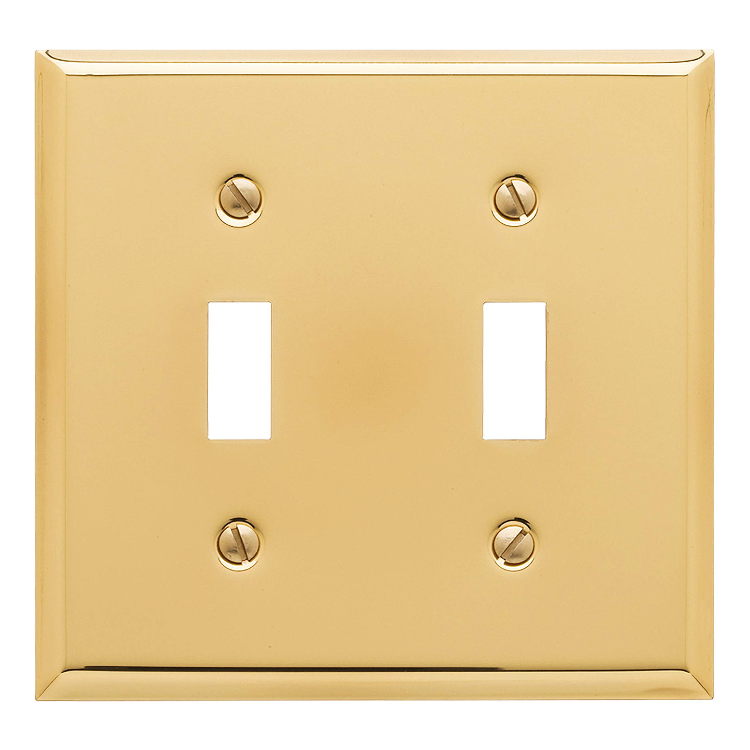 Baldwin Estate 4761.030.CD Square Beveled Edge Double Toggle Switch Wall Plate in Polished Brass, 4.5''x4.5'' by Baldwin