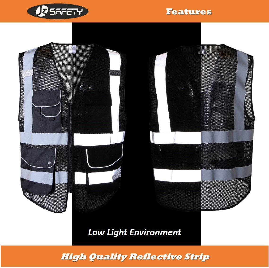 JKSafety 9 Pockets Class 2 High Visibility Zipper Front Safety Vest With Reflective Strips,HQ Breathable Mesh, Oxford Fabric for pocket materials. Black Meets ANSI/ISEA Standards (X-Large, Black) … by JKSafety (Image #5)