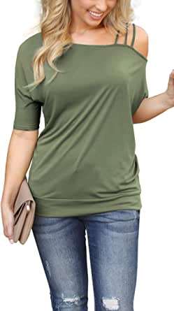 Newdiva Womens Off Shoulder T-Shirt Strappy Short Sleeve Solid V-Neck Summer Blouses Tops