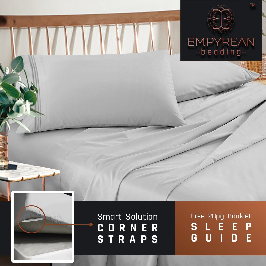 Empyrean Bedding 4-Piece Queen Bed Sheets Set with Tight Fit Corner Straps on Extra Deep Pocket and Better Sleep Guide, Silver
