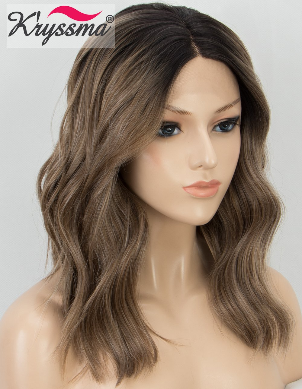 K'ryssma Short Bob Lace Front Wigs Wavy Brown Ombre Synthetic Wig with Dark Roots Middle Parting Half Hand Tied Heat Resistant K' ryssma