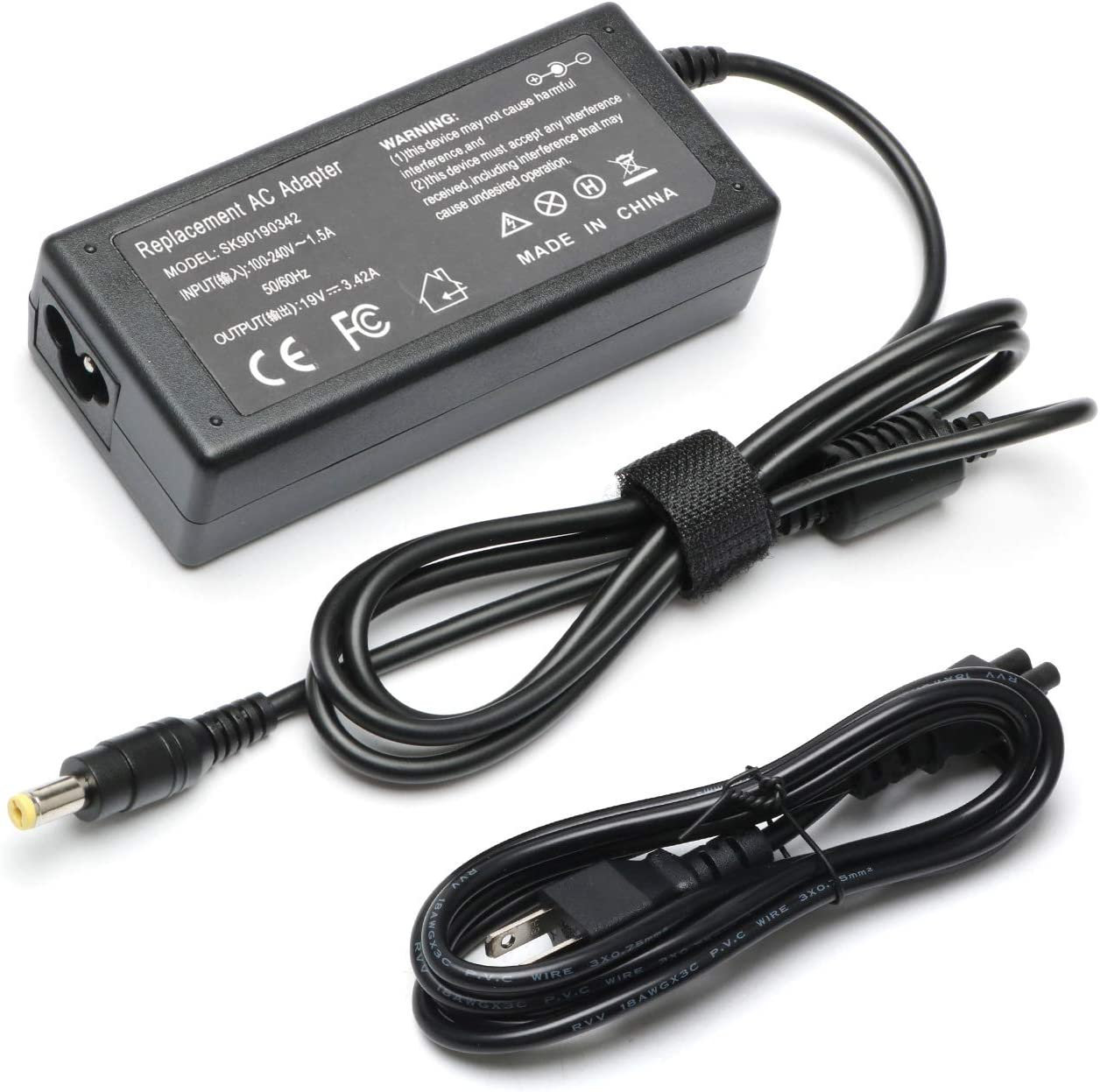 New E15 E5 65W AC Adapter Laptop Charger for Acer-Aspire N15Q1 ES1 E1 ES1-S12 E1-571 E1-510P E1-521 E3-111 E5-511P E5-521 5733 5517 5349 5750 5742 PA-1650-86 5742 5750-19V 3.42A Power Supply Cord