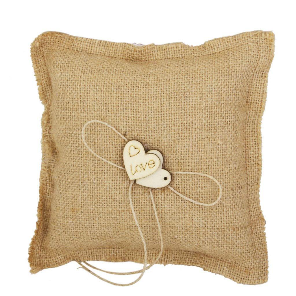"Burlap Hessian Wood Love Hearts Ring Bearer Pillow Cushion Rustic Wedding-7/"""