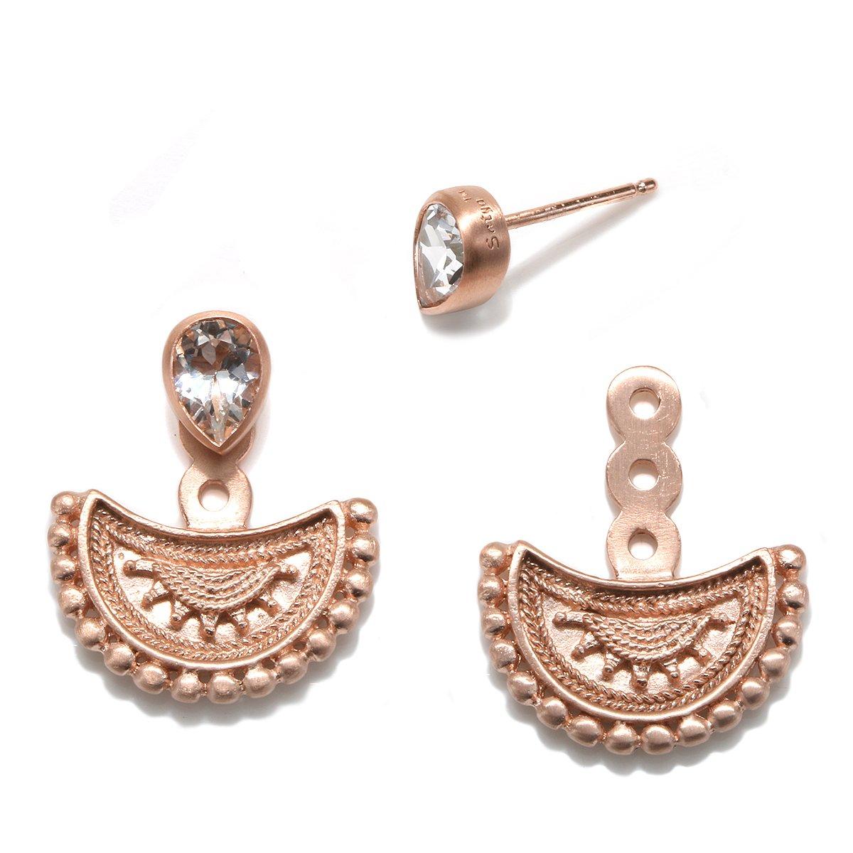 Satya Jewelry Womens White Topaz Rose Gold Mandala Earring Jacket, One Size