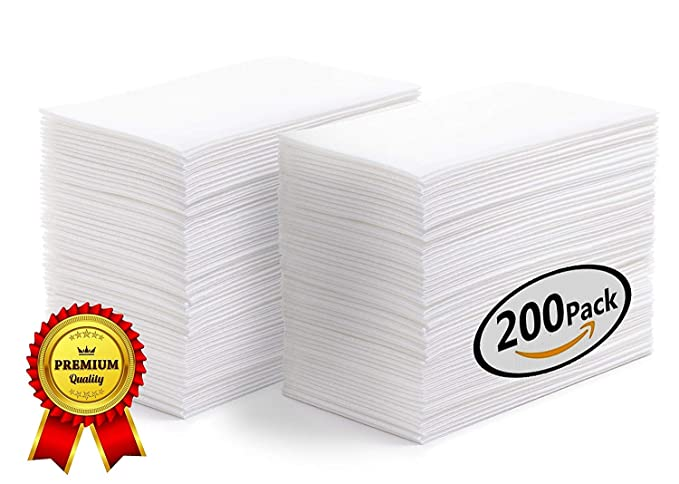 Suave toallas de mano | invitados servilletas | servilletas de papel desechables | lino feel toallas de invitados a boda de color blanco - absorbente ...