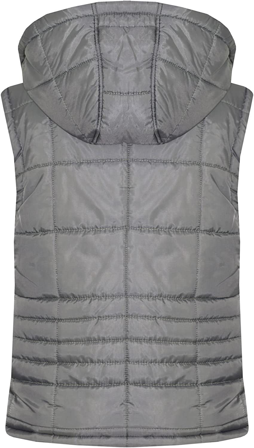 A2Z 4 Kids/® Kids Girls Boys Designers Steel Grey Sleeveless Hooded Padded Quilted Lined Gilet Bodywarmer Fashion Jackets Age 5 6 7 8 9 10 11 12 13 Years