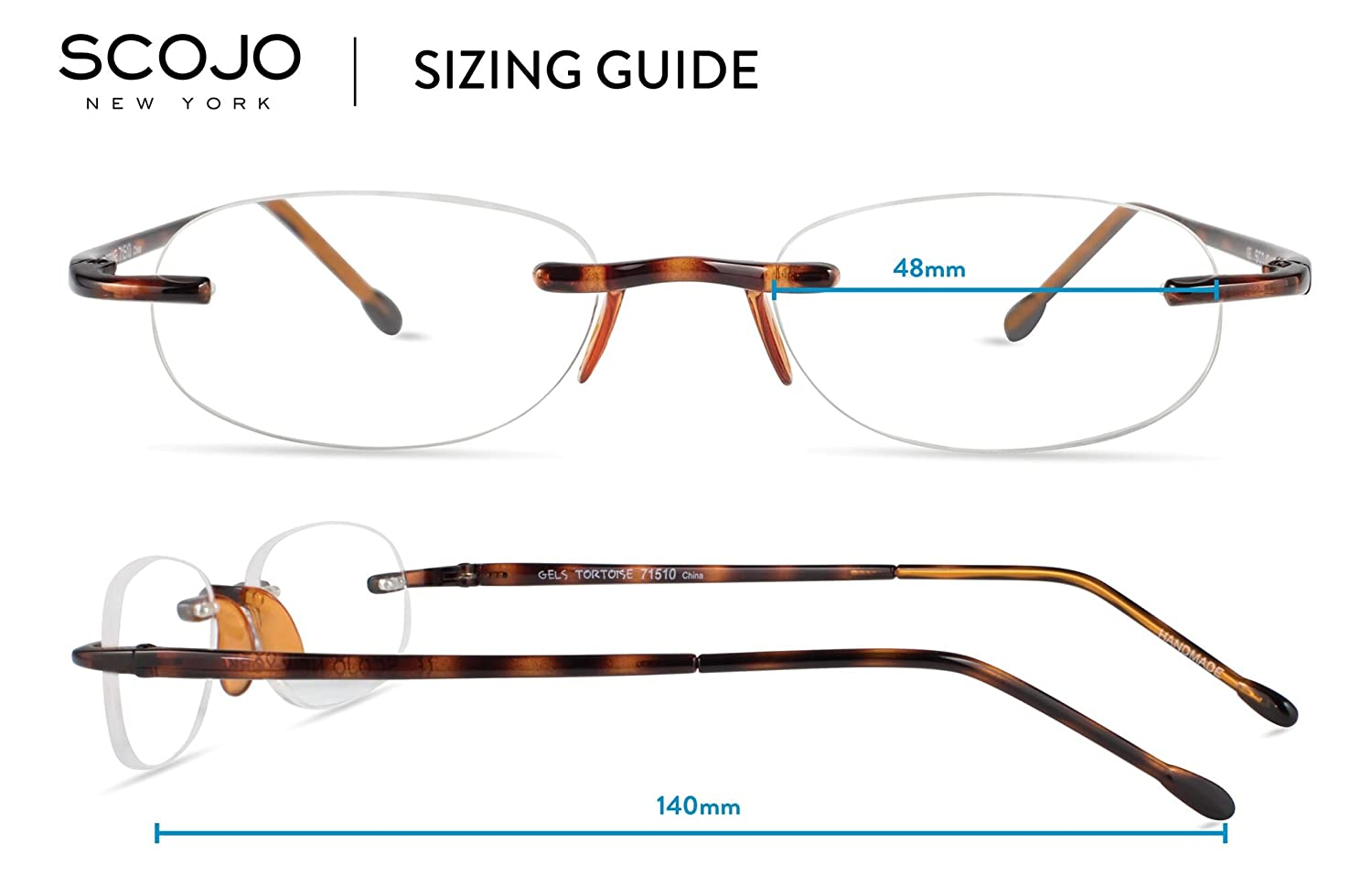 1cec12813c Amazon.com  Gels - Lightweight Rimless Fashion Readers - The Original Reading  Glasses for Men and Women - Tortoise (+1.50 Magnification Power)  Health ...