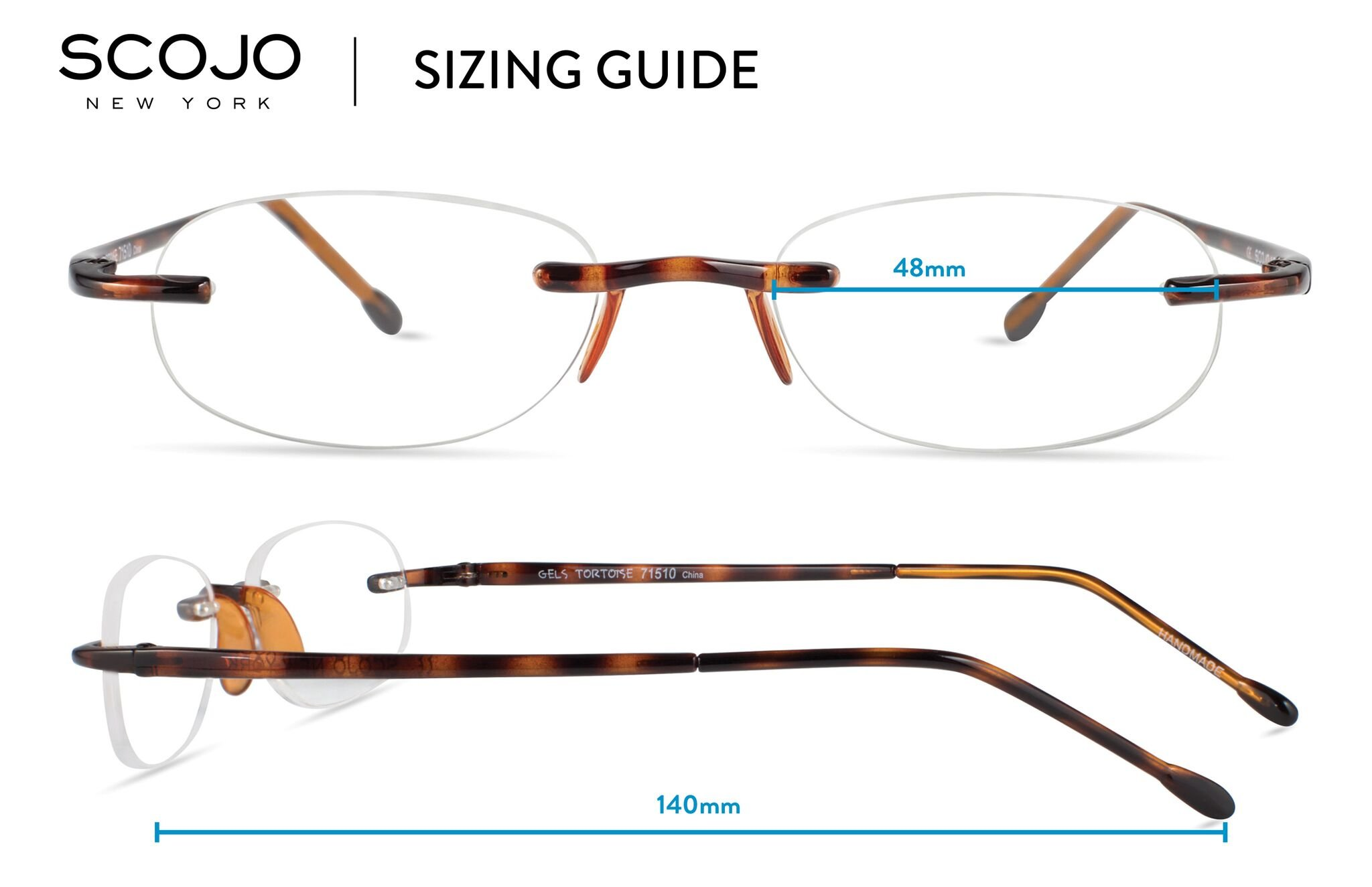 Gels - Lightweight Rimless Fashion Readers - The Original Reading Glasses for Men and Women - Tortoise (+1.50 Magnification Power) by Scojo New York (Image #5)