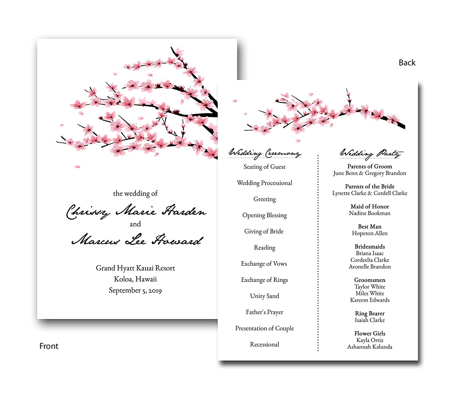 Amazon Flat Cherry Blossom Invitation Style Wedding Program Set Of 20 Handmade: Cherry Blossom Wedding Invitation Kit At Reisefeber.org