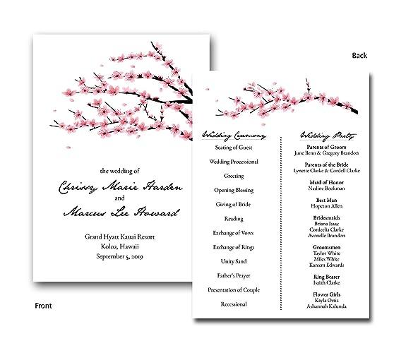 Amazon Com Flat Cherry Blossom Invitation Style Wedding Program