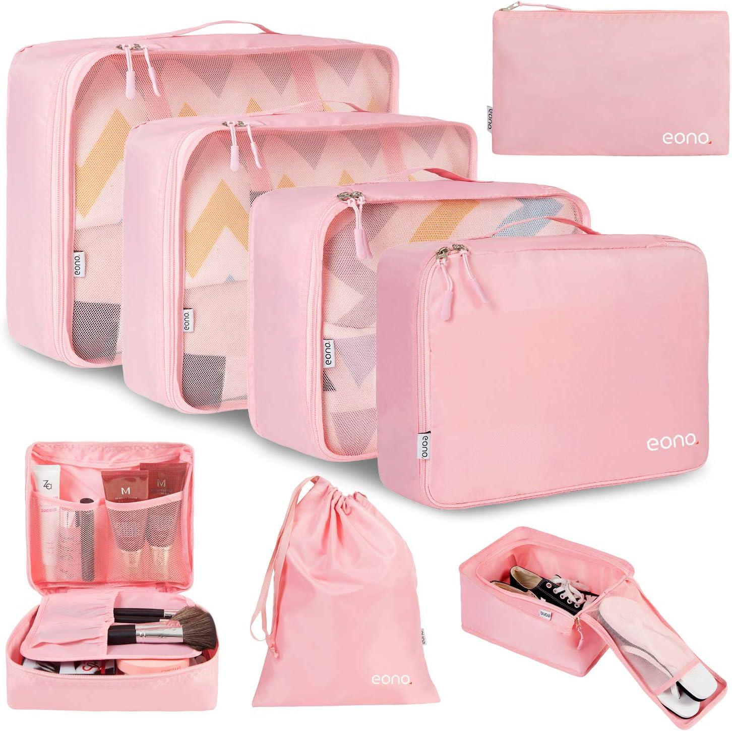 Eono by Amazon - 8 Set Cubos de Embalaje, Organizadores para Maletas, Travel Packing Cubes, Equipaje de Viaje Organizadores, con Bolsa de Zapatos, Bolsa de Cosméticos y Bolsa de Lavandería, Rosado