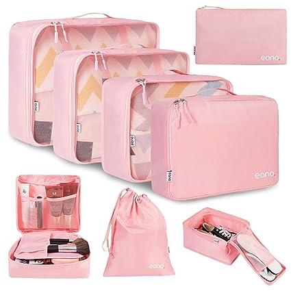 Eono by Amazon - 8 Set Cubos de Embalaje, Organizadores para Maletas, Equipaje de Viaje Organizadores, con Bolsa de zapatos, Bolsa de Cosméticos y ...