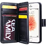 ULAK iPhone 5S Case, iPhone SE Case Luxury Premium Synthetic leather 7 Card Slots Wallet Case Cover With Hand Strap for Apple iPhone 5 5S SE (Black)