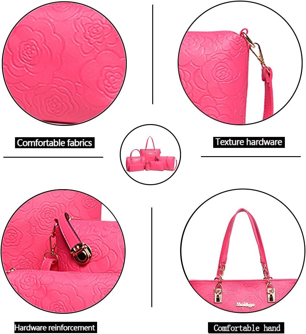Tisdaini Womens Handbags Fashion 6 Set Hard Skin PU Leather Cross-Body Top-Handle Shoulder Wallet